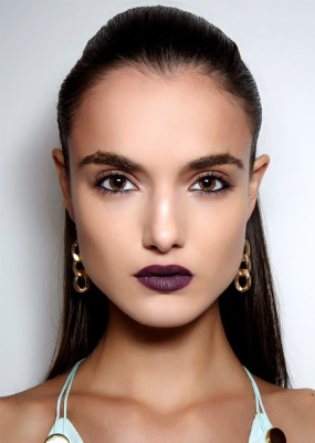 Port-Wine Lipstick with Bold Brows