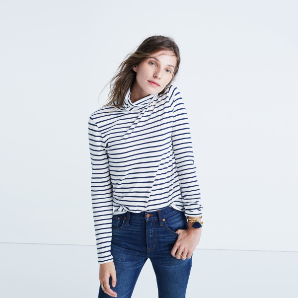 Whisper Cotton Turtleneck in Cordova Stripe | Whisper Cotton Turtleneck in Cordova Stripe