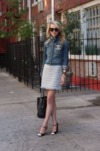 chic modern outfit with cap toe shoes