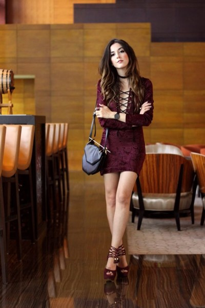 via Fashion Coolture Velvet dress in burgundy with lace up detail from Inspireland, high heels an black bag.