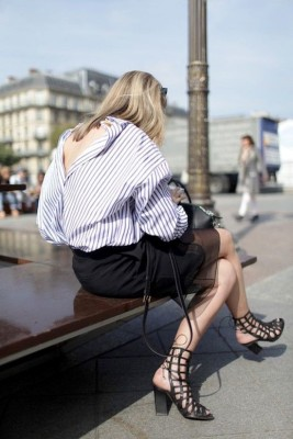 Blue Banker Striped Shirt Outfit For Spring Trend