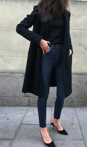 Classic look with skinnies and black coat
