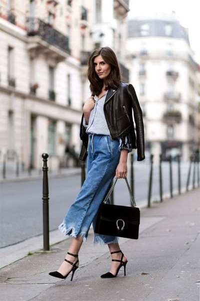 Cropped denim looking perf with that Gucci bag. @The Coveteur
