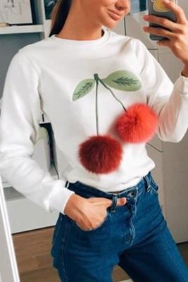 Long Sleeves Pom Pom Details Sweatshirt