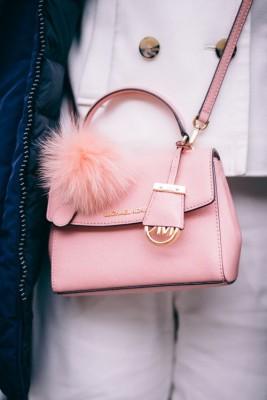 Michael Kors mini pink cross bag with fluffy pom pom