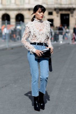 Perfect textured top paired with basic denim and black boots