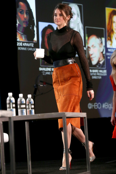 Shailene Woodley was sexy-chic in a sheer, body-con black top by Bottega Veneta at the 2017 Winter TCA Tour.