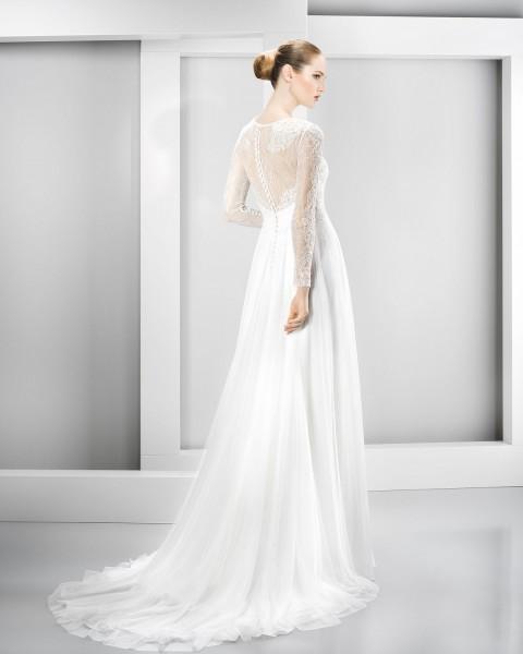 A-line Jewel Neck Lace Bodice Chiffon Wedding Dress