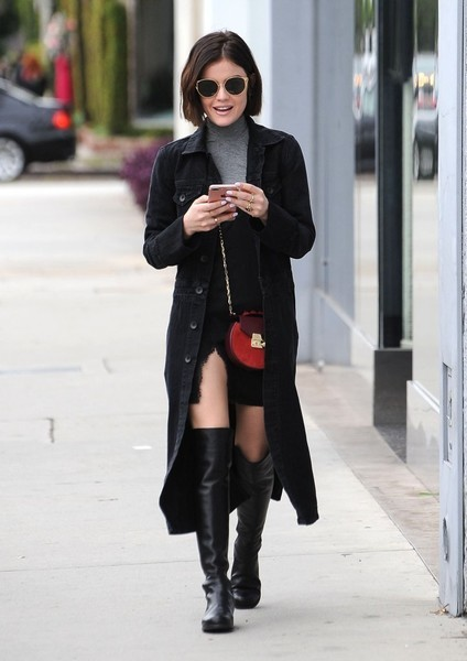 Actress Lucy Hale stops by a hair salon in West Hollywood, California on February 21, 2017