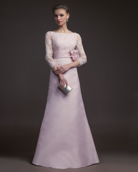 (Shop click here)Charming A-line Bateau Beading&Sequins Lace Hand Made Flowers Floor-length Satin Prom Dresses