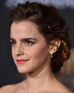 Emma Watson was the picture of elegance wearing this loose updo at the premiere of 'Beauty and the Beast.'