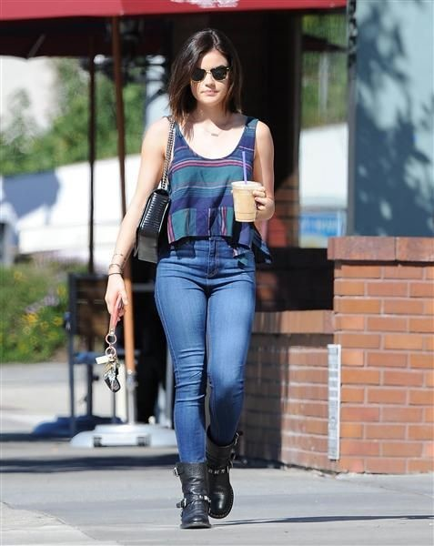 Lucy Hale stepped out for coffee in Los Angeles on Feb. 12, 2015, in a striped crop top, jeans and black boots.