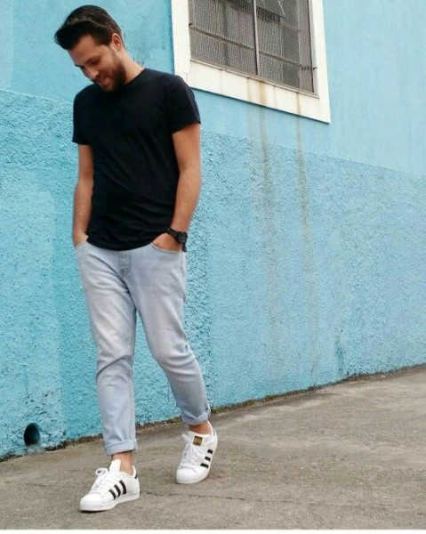 Menstyle Outfit Ideas to Wear Adidas Superstar