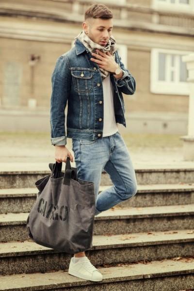 Scarf + Denim Jacket + White Shirt + Blue Denims + White Adidas Superstar Originals