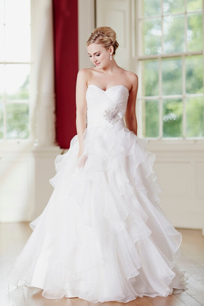 (Shop click here) Strapless Pleated Bodice Cascaded Organza Wedding Dress with Crystal