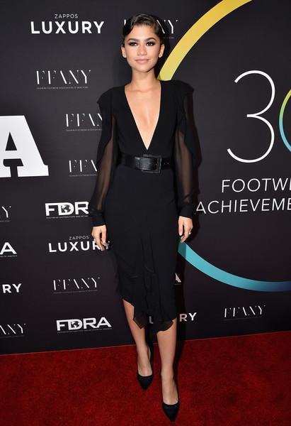 Zendaya Coleman took a bold plunge with this deep-V LBD by Michael Kors for her FN Achievement Awards look.