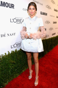 Zendaya Coleman was a total cutie in a glammed-up shirtdress by Reem Acra, featuring petal-embellished, layered sleeves, at the Glamour Women of the Year 2016.