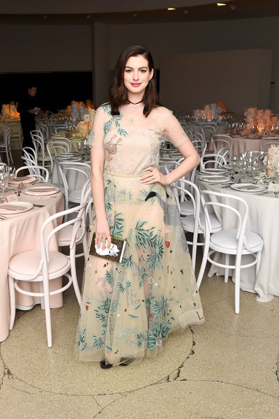 Anne Hathaway Embellished Top and Long Skirt
