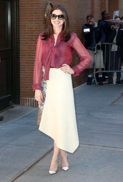 Anne Hathaway Pussybow Blouse and Full Skirt