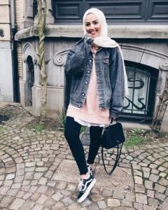 Denim jacket hijab look-Hijab trend spring fashion