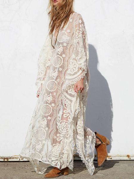 Hypnotise White V Neck Lace Batwing Maxi Dress