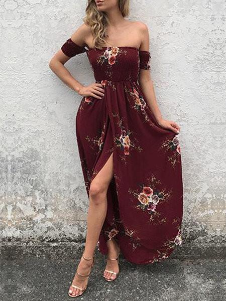 Run To You Burgundy Slit Shirred Off Shoulder Dress