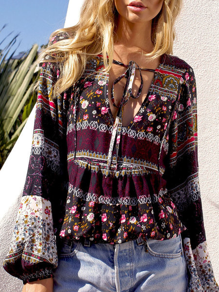 Together Now Coffee Balloon Sleeve Boho Blouse | JustFashionNow Launches Boho Trends Outfit to take Notice of