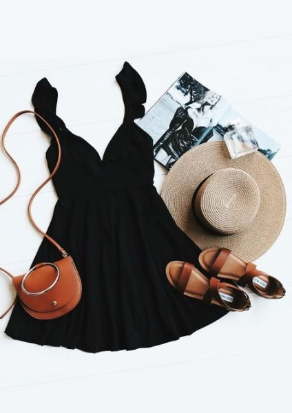 via Lulus Exclusive! Marshmallows, ice cream, and candy can't beat the Sweeter Than Sugar Black Backless Skater Dress!