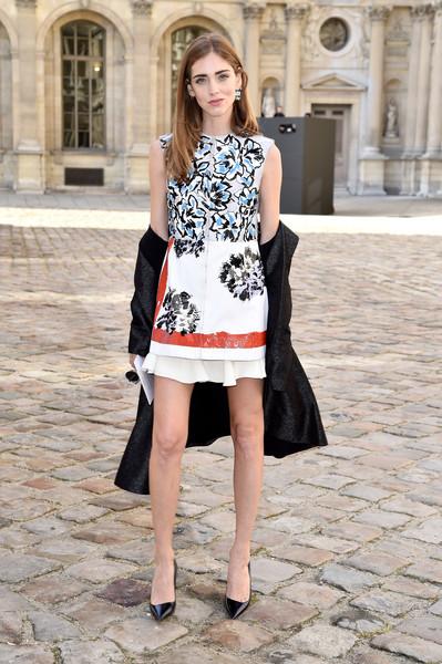Chiara Ferragni charmed in a Dior floral mini during the label's fashion show. Brand by Christian Dior