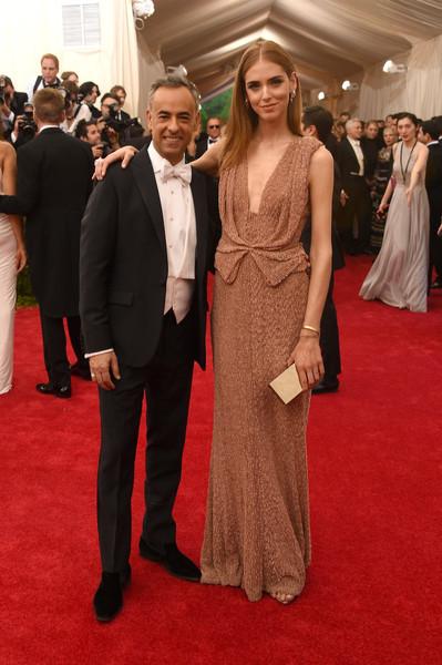 Chiara Ferragni donned a draped beige evening dress by Calvin Klein for her Met Gala look.