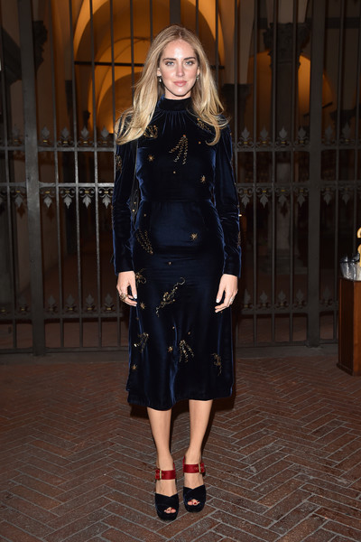 Chiara Ferragni kept it classy in a high-neck navy dress with delicate gold beading at the Florence premiere of 'Inferno.'