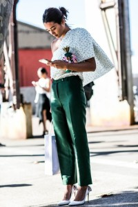 Green Trouser With Off Shoulder Top via becauseimaddicted.net
