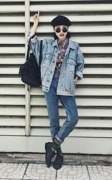 How to Wear Outfit with Oversized Denim Jacket