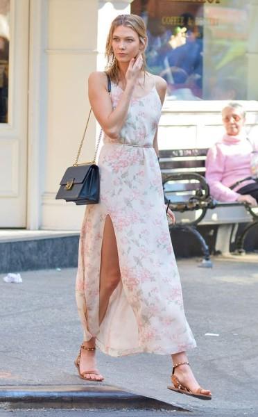 Karlie Kloss is breathtaking as always in a breezy Reformation maxi dress.