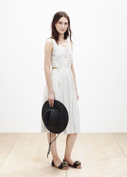 Madewell cutout sundress worn with the straw fedora + slim Thea pom-pom sandal.