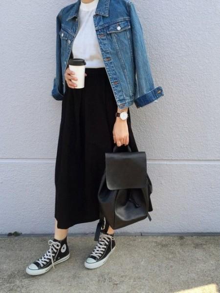 white tee, denim jacket, black midi skirt, converse