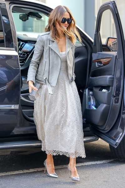 Jessica Alba looked dreamy in a white lace dress by Brock Collection while out and about in New York City.