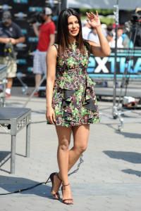 Priyanka Chopra visited 'Extra' wearing a super-short ruffle dress.