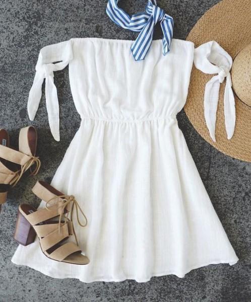 Sunshine Ivory Off-the-Shoulder Dress via LULUS