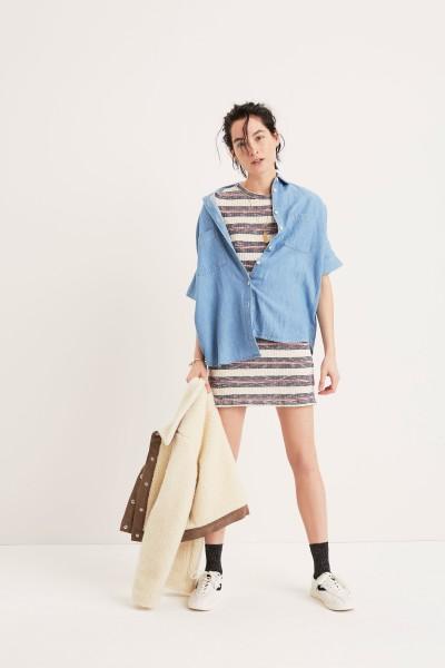 Indigo Courier Shirt Short-Sleeve Mini Dress Sherpa Portland Jacket