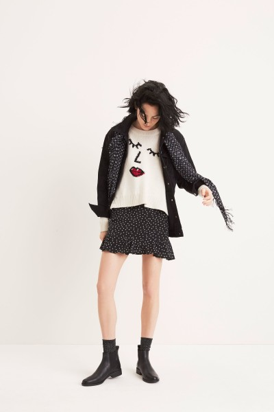 The Oversized Jean Jacket Making Faces Sweater Silk Ruffle-Edge Skirt