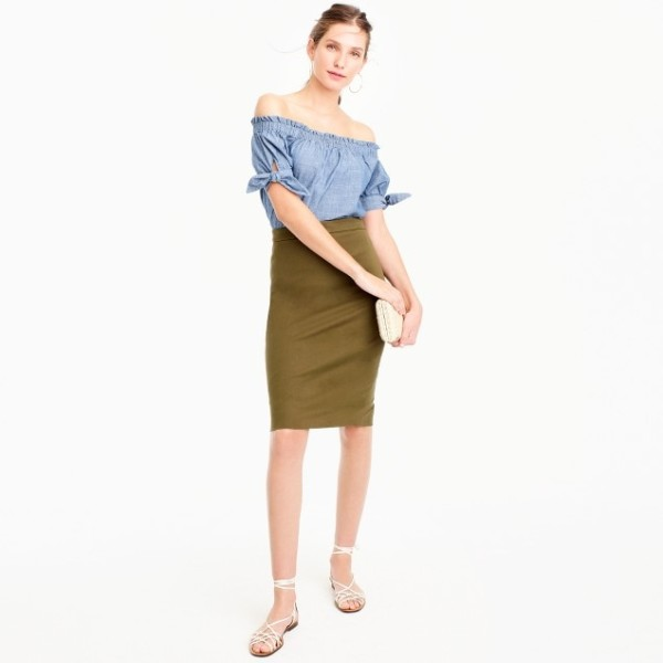 No. 2 pencil skirt in two-way stretch cotton