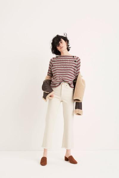 Reversible Shearling Coat Retro Crop Bootcut Jeans