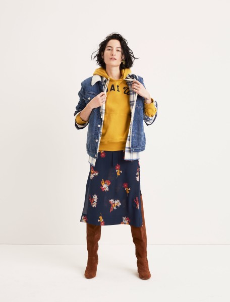 The Oversized Jean Jacket: Sherpa Edition Side-Button Skirt The Walker Over-the- Knee Boot