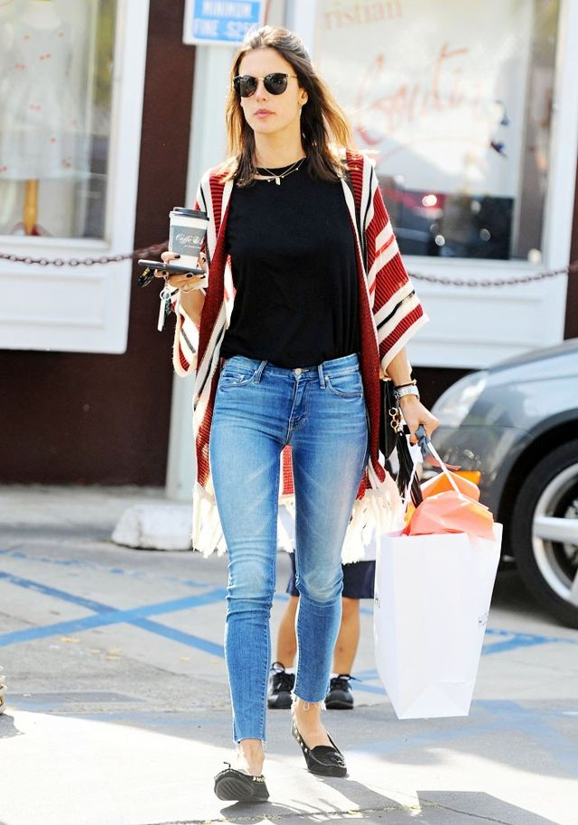 Alessandra Ambrosio Street Style With Striped Cardigan