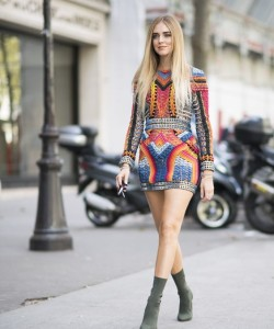 Chiara Ferragni owns the embellished trend, paired with sock boots