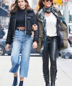 Kaia Gerber Style with Velvet Boots