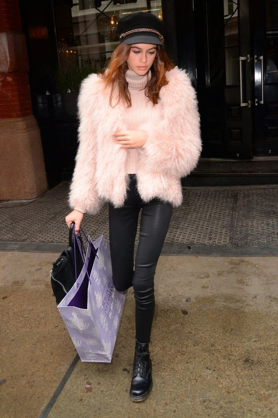 Kaia's furry pink coat