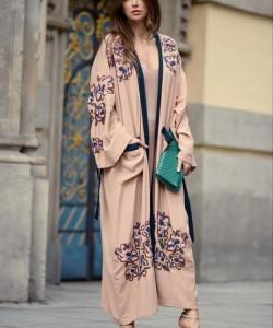 Embroidered kimono coat