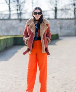 Orange Shearling via Stylecaster